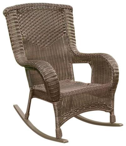 San Tropez Resin Wicker Aluminum Rocker,Antique Pecan Outdoor Rocking Chairs