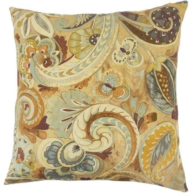 "The Pillow Collection 18"" Square Salihah Paisley Throw Pillow."