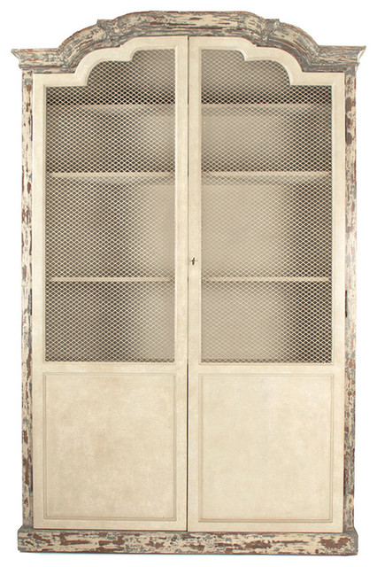 Distressed French Wire Door Cabinet - Farmhouse - China Cabinets And Hutches - by Belle Escape
