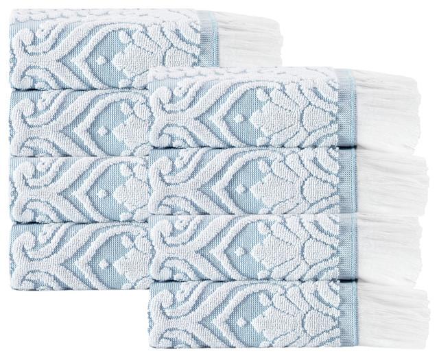 Laina 8-Piece Turkish Cotton Wash Cloth Set, Turquoise