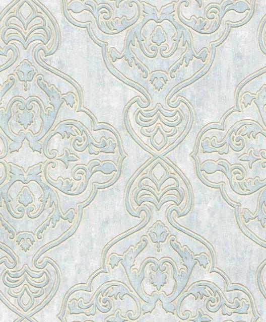 Bellissimo Vi By Brewster 2768 3205 Elena Light Blue Damask Wallpaper