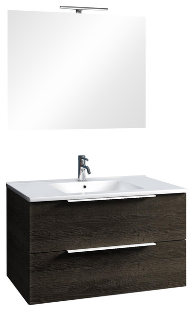 Luna 4-Piece Wall-Mounted Bathroom Vanity, Dark Brown, 81 cm