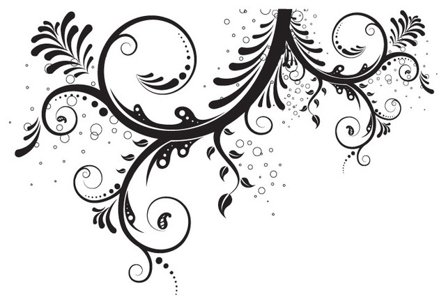 Black Wall Decals flower floral swirl wall decal - contemporary - wall decals -