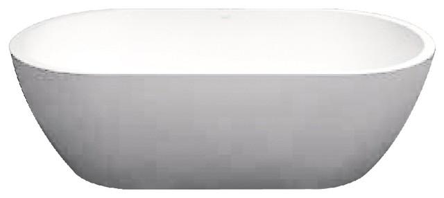 "Sherwood 63"" Lx32"" Wx21"" H Artificial Stone Freestanding Bathtub, White."