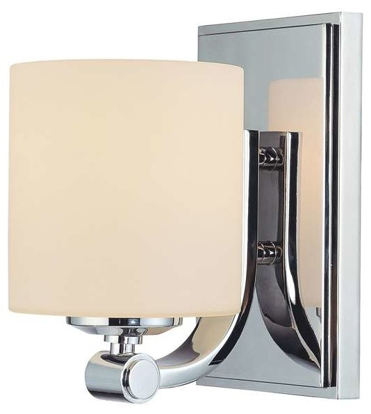 Modern Vanity Lighting Chrome : Slide 1-Light Vanity Chrome/White Opal Glass - Modern - Bathroom Vanity Lighting - by PLFixtures