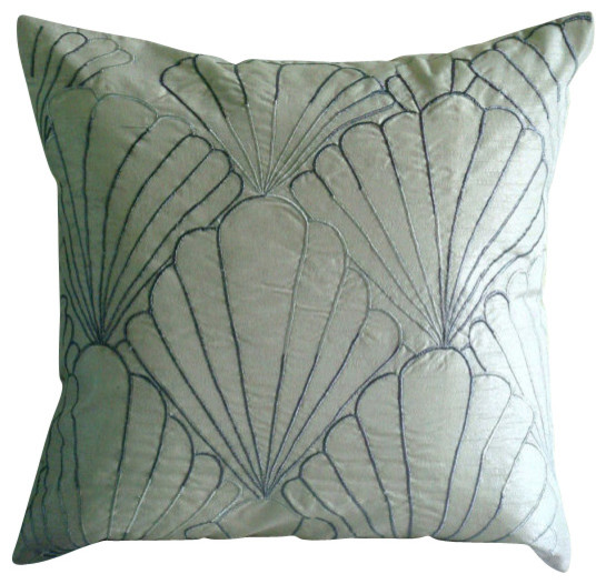 "Silver Shells, Silver Art Silk 18""x18"" Pillow Case."