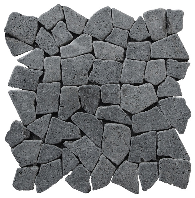 "12""x12"" Fit Mosaic Tiles, Black"