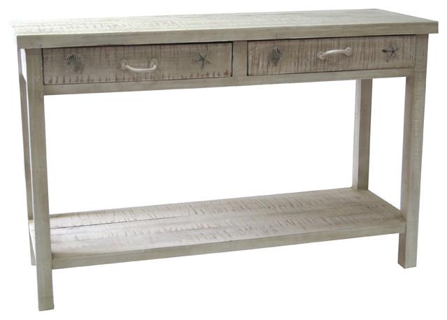 Seaside White Coastal Console Table