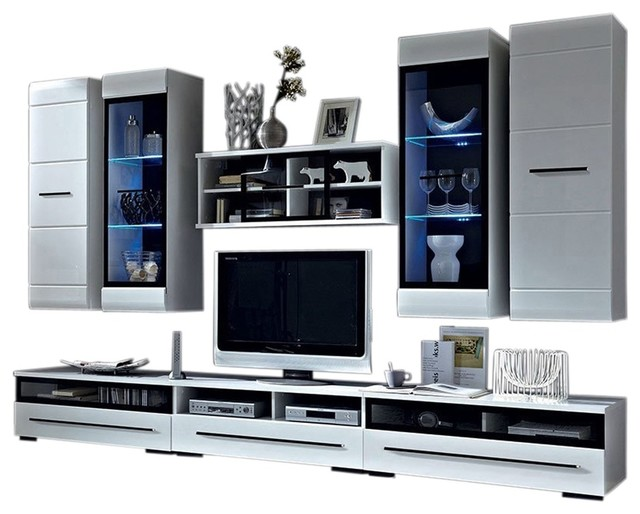 Wall Unit Modern Entertainment Center With LED Lights TV Stand, High Gloss  White Contemporary