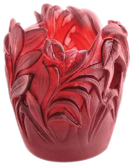 Daum Crystal Small Jungle Vase Red Transitional Vases By Biggs