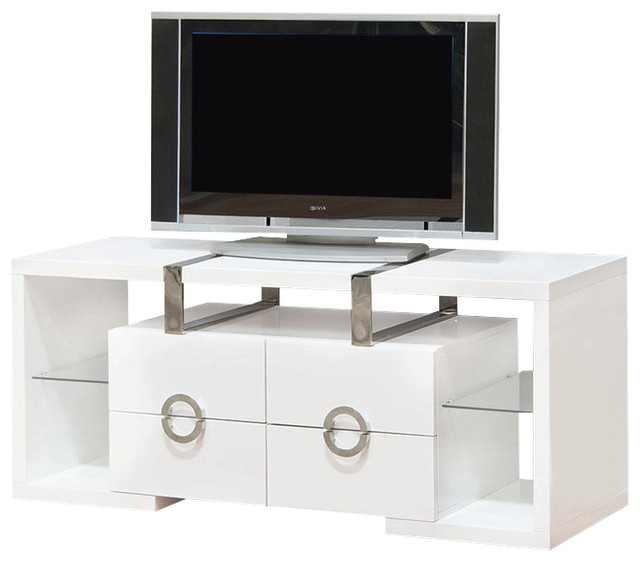 White TV Cabinet Media Console With 4 Drawers, 55 ...