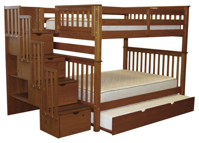 Bedz King Bunk Beds Full Over Full Stairway, 4 Drawers, Full Trundle, Espresso.