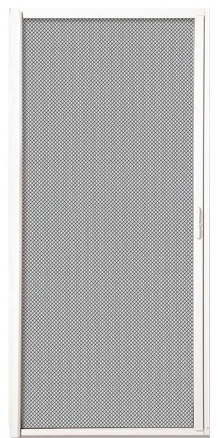 Inswing Retractable Single Screen Door, White Aluminum