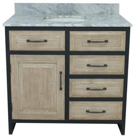 36 Rustic Fir Single Sink Iron Vanity, Driftwood With Carrara White Marble Top.