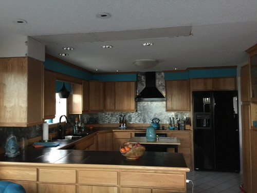 Recessed lighting over kitchen peninsula. Recessed Lighting Vs Chandelier. Home Design Ideas