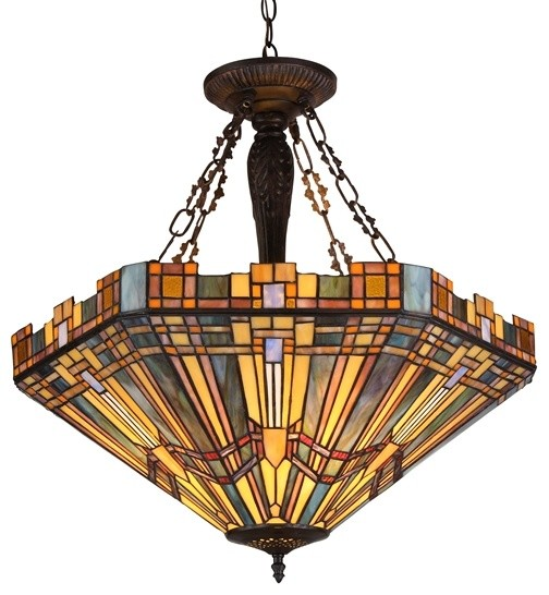 tiffany style mission inverted pendant ceiling fixture craftsman