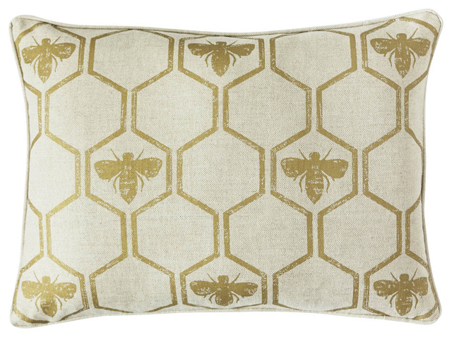 Honey Bees Cushion, Gold.