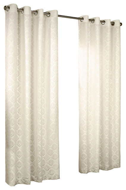 """Thermalace """"anna"""" Grommet Top Panels, Set Of 2, Ivory, 104""""x95""""."""