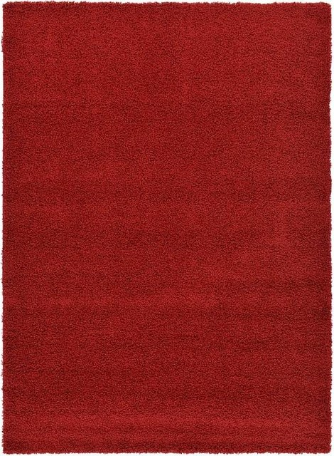 7&x27;x10&x27;solid Shag Cherry Red Area Rug.