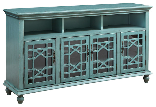 Bayberry Blue Rub Through Four Door Media Credenza  Traditional Entertainment Centers And