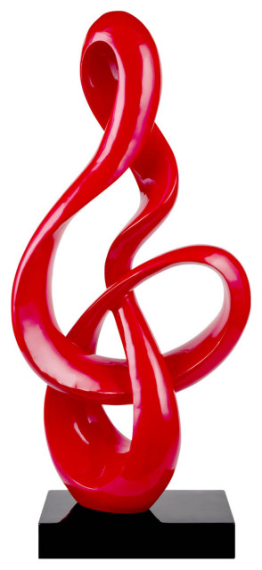 Abstract Fire Resin Sculpture, Red, Small