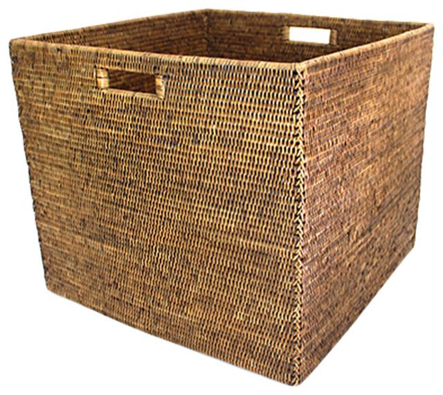 "Rattan Laundry Basket Square, 20""x17""."