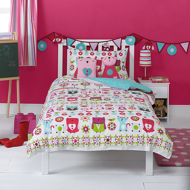 kaleidoscope owl single duvet cover and pillowcase. Black Bedroom Furniture Sets. Home Design Ideas