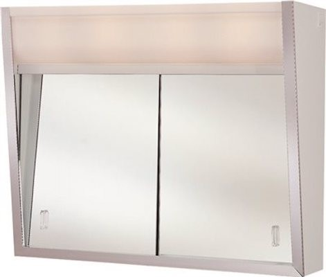"Medicine Cabinet With Sliding Doors, 2 Lights, 23-7/8""x19-3/8""x7-5/16""."
