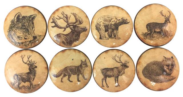 8 Piece Set Vintage Woodland Animals Cabinet Knobs.