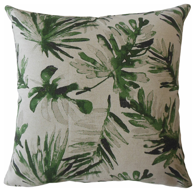 "Fola Floral Throw Pillow, Lubu, 22""x22""."