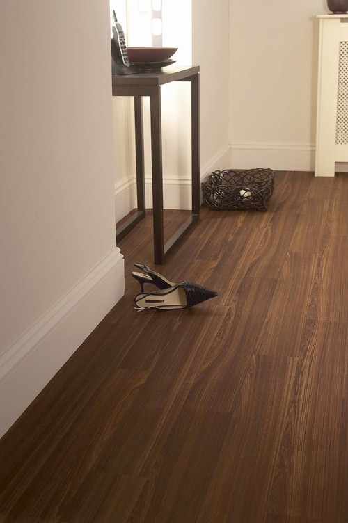 traditional vinyl flooring Wenge Bourbon, Cushion Step vinyl sheet flooring by Armstrong