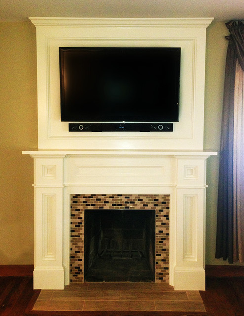 Custom Fireplace Surround with glass mosaic tile (Daltile Coastal Keystones).