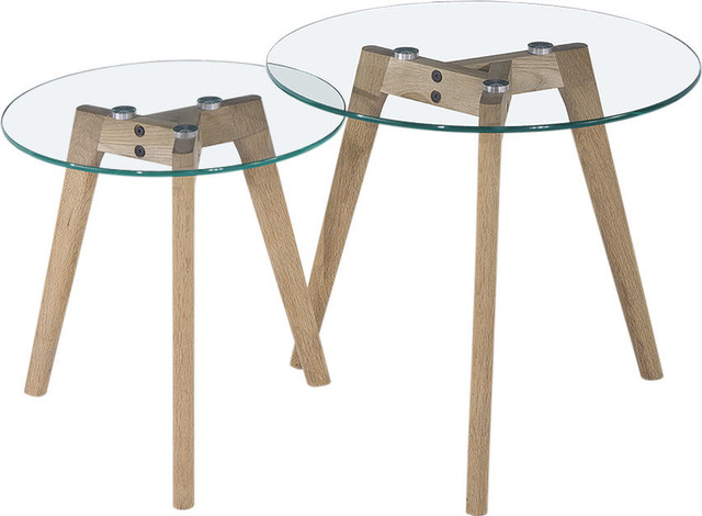 Monarch Round Nesting Tables With Oak Legs, Tempered Glass, Set of 2  contemporary- - Monarch Round Nesting Tables W/ Oak Legs & Clear, Tempered Glass