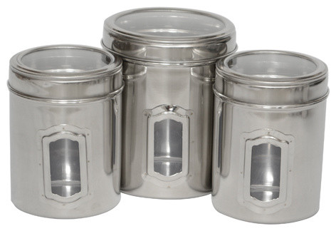 Set Of 3 Different Sizes Of Canister, See Through Lids.
