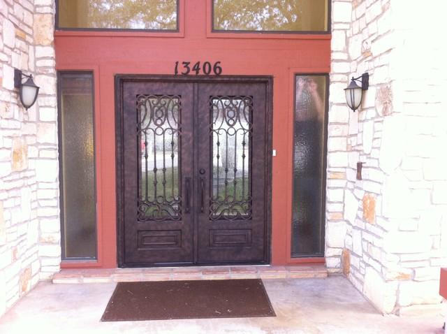 Madrid spanish style wrought iron double door for Mediterranean style front doors