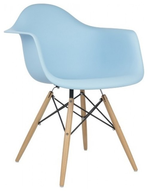 Blue plastic accent dining armchair contemporary for Contemporary plastic dining chairs