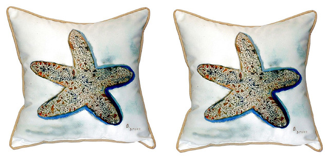 Pair of Betsy Drake Betsy's Starfish Large Pillows 18 Inch X 18 Inch