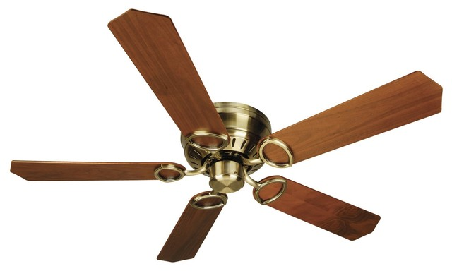 "Craftmade Pro Universal Hugger 52"" Antique Brass Ceiling Fan With 5 Blades."