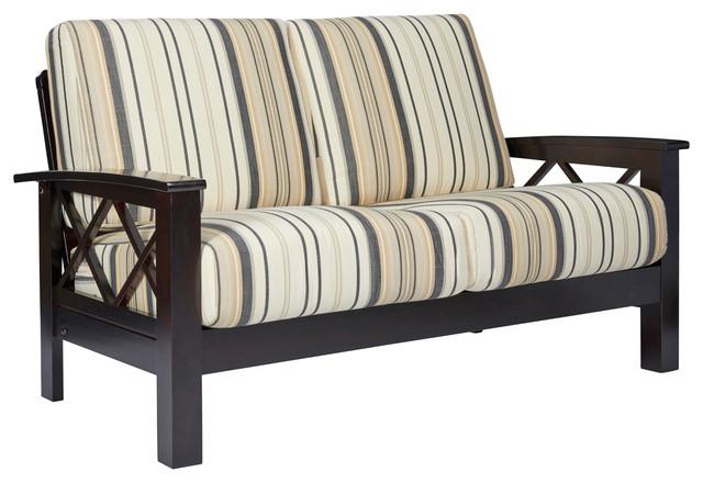 Riverwood X Design Loveseat With Exposed Wood Frame, Brown & Black Stripe.