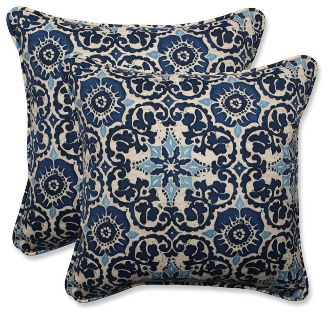 "Pillow Perfect Inc Woodblock Prism Blue 18 5"" Throw Pillow"