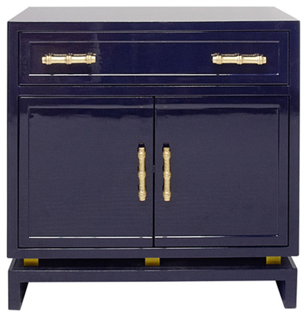 Cabinet With Gold Leaf Bamboo Hardware, Navy