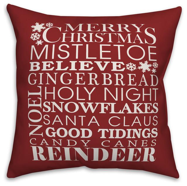 Dark Red Throw Pillows.Christmas Things On Dark Red Throw Pillow 18 X18