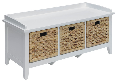 Flavius Storage Bench, White