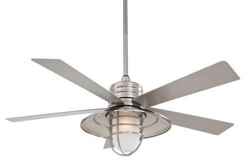 Rainman 54 Outdoor Ceiling Fan Brushed Nickel Silver Blade Acid Et.