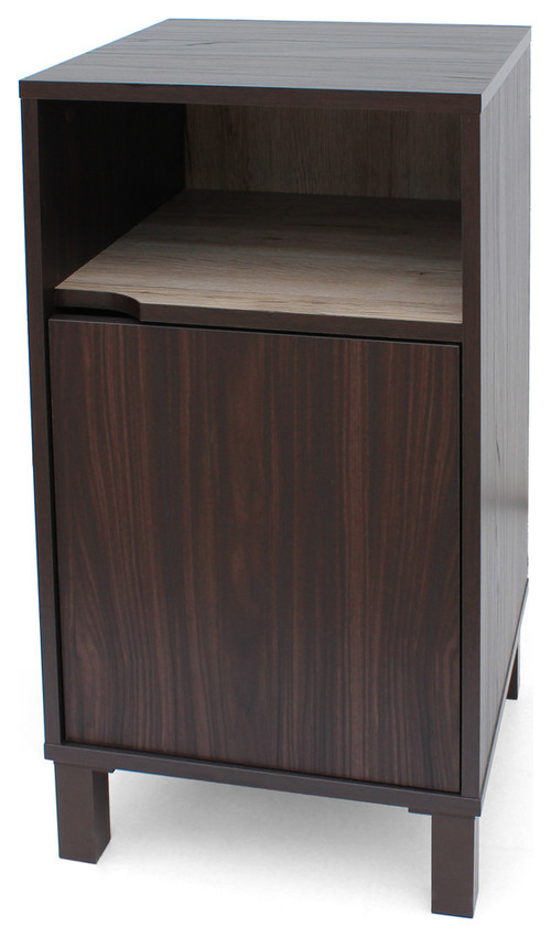 GDF Studio Miya Single Shelf Walnut Cabinet With Oak Interior, Sanremo Oak
