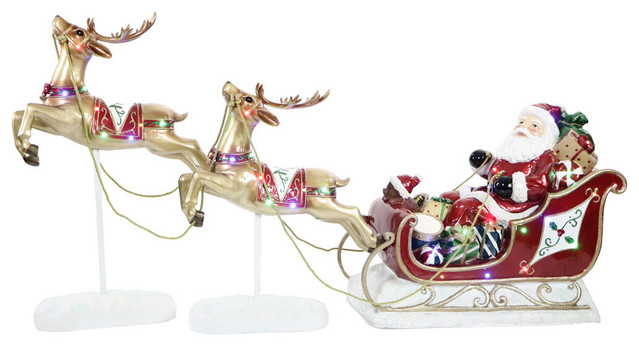 Santa Sleigh and Flying Reindeer With LED Lights 3-Piece Set