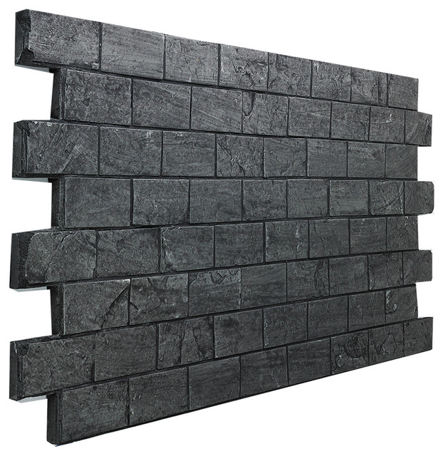 Slate Subway Tile Brick Wall Panel, Almond - Traditional - Wall ...