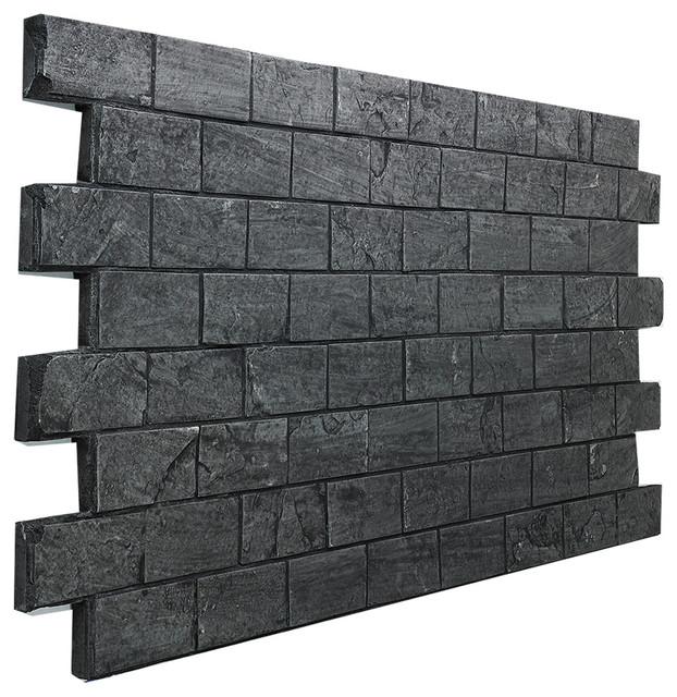 Slate Subway Tile Brick Wall Panel, Almond - Traditional - Wall ...
