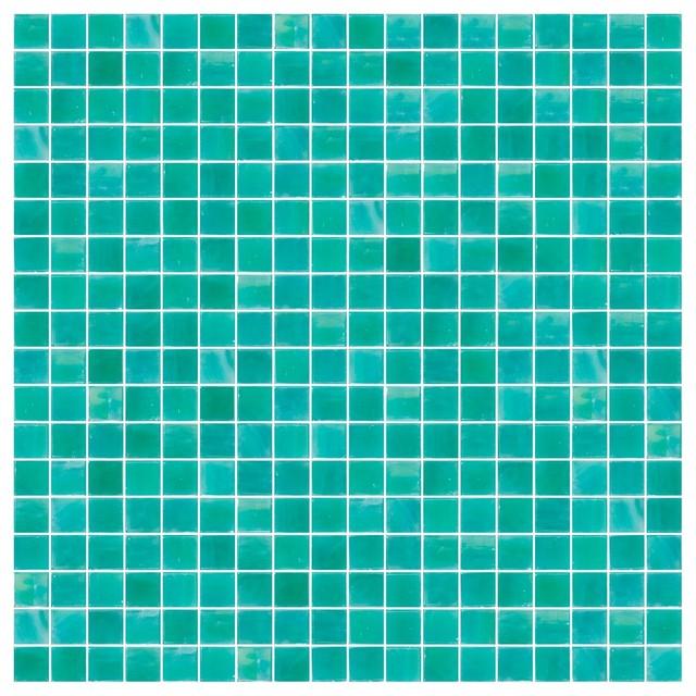 """12""""x12"""" Sea Foam Green Iridescent Glass Tile, Full Sheet."""