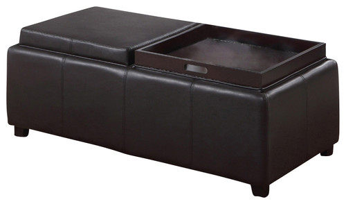 Faux Leather Storage Ottoman with Double Reversible tray, Brown